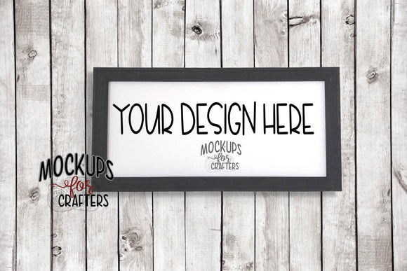 Reverse Canvas 10 x 20 mock-up, wood background
