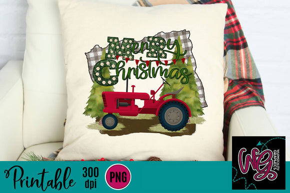 Merry Christmas Tractor Plaid Printable 300 dpi PNG