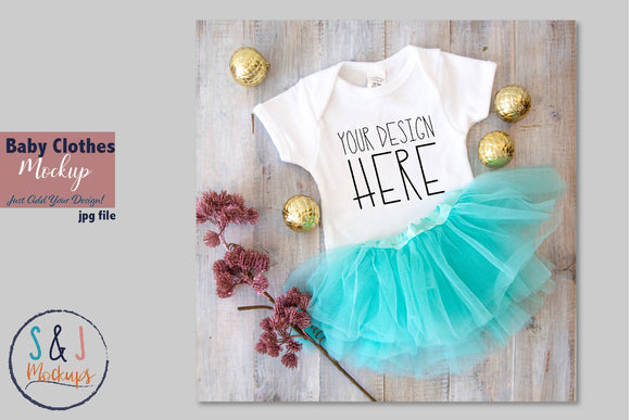 Christmas Baby Clothes Mockup, Body Suit with Tutu