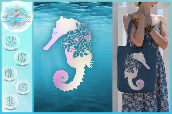 Seahorse Floral Mandala Zentangle SVG Files for Cricut Silhouette