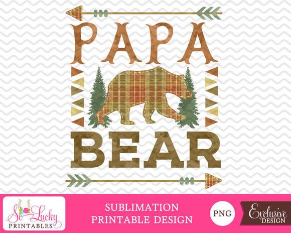 Papa bear watercolor printable sublimation design - Digital download - PNG - Printable graphic design