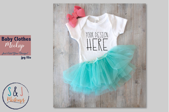 Baby Clothes Mockup, Body Suit with Tutu and bow