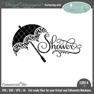 Shower With Patterned Umbrella