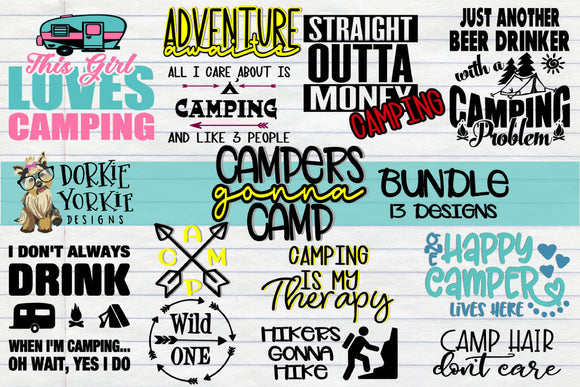 BUNDLE - Campers Gonna Camp - Camping, Camper, Hiking - SVG Cut File