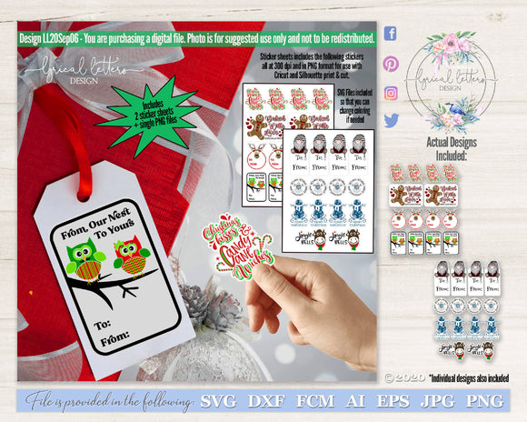 Christmas Sticker Gift Tag Bundle SVG and PNG LL20Sep06