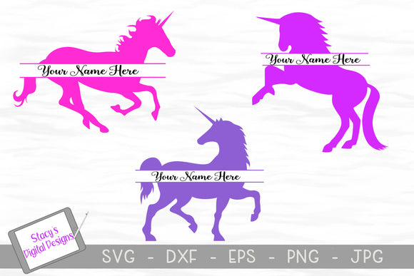 Unicorn Split Monogram SVG Bundle - 3 Unicorn Designs