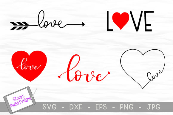 Love SVG Bundle - 5 Valentine / Love SVG Designs