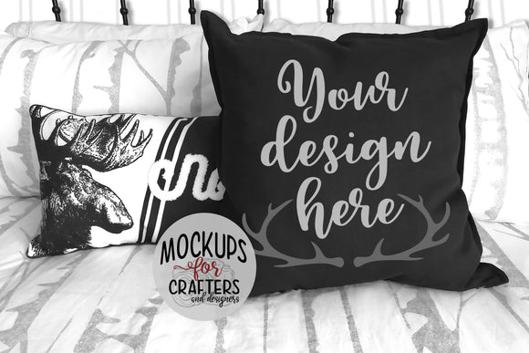 Cushion, Pillow Mock-Up - Rustic, Farmhouse, Moose