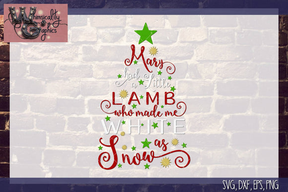 Mary Had a Little Lamb Cut File WG132