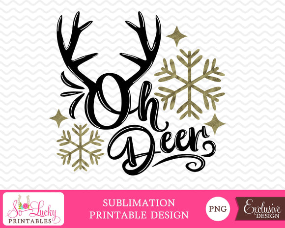 Oh deer Christmas watercolor printable sublimation design - Digital download - PNG - Printable