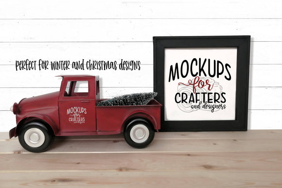 Reverse Canvas, Christmas theme, vintage red truck accessory