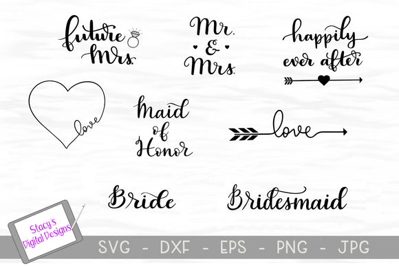 Wedding SVG Bundle / Bridal SVG Bundle - 8 SVG Designs