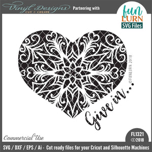 Give in Heart Mandala Cut File
