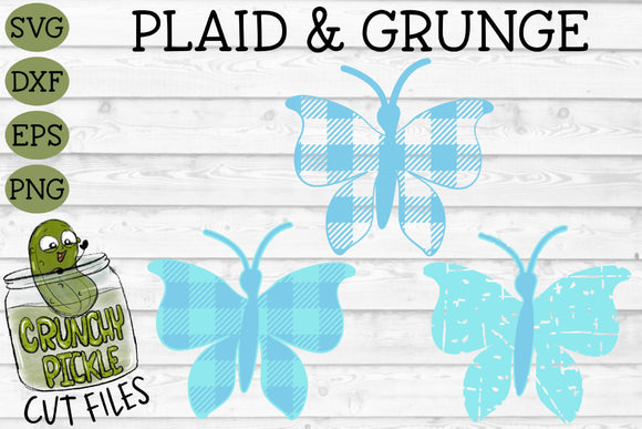 Plaid & Grunge Butterfly 1 SVG Cut File