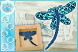 3D Dragonfly Mandala Multi Layered Mandala SVG - Paper Crafting - Laser - Multilayer Cut File SVG