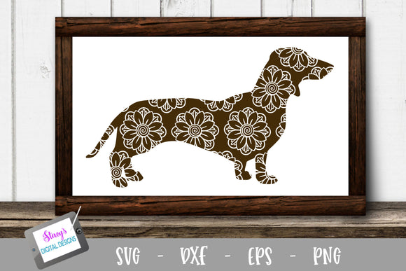 Dog SVG - Dachshund with floral mandala pattern