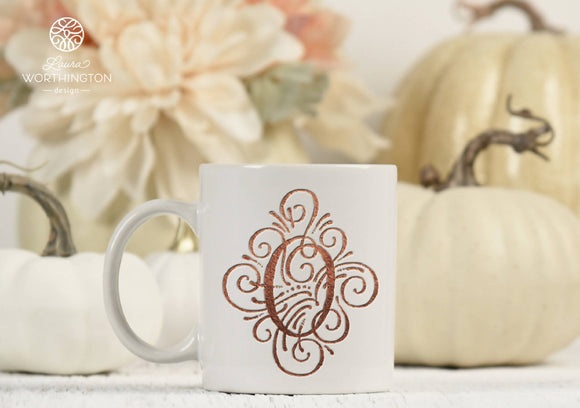 Adorn Solo Letter O Monogram - Sublimation Printable Design