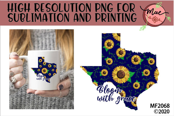 Texas Sunflower Bloom In Grace Sublimation Design
