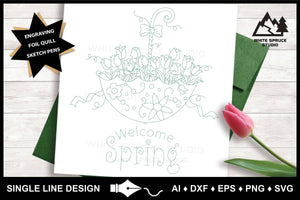 Single Line Design, Foil Quill, Foil Transfer, Engraving, Embossing, Drawing SVG, Tulip Umbrella, Welcome Spring, Flowers