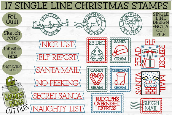 17 Foil Quill Christmas Stamps