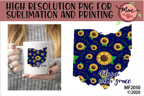 Ohio Sunflower Bloom In Grace Sublimation Design