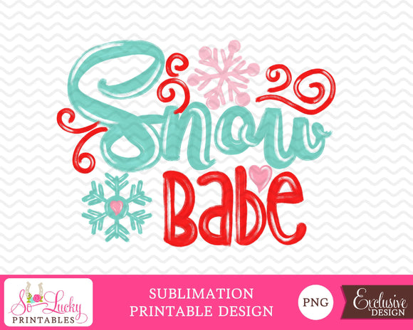 Snow Babe watercolor printable sublimation design - Digital download - PNG - Printable
