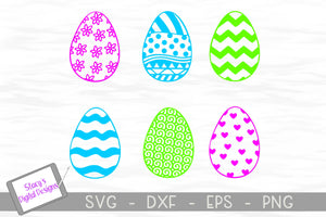 Easter SVG Bundle – Easter Egg Bundle with 6 Patterned Eggs