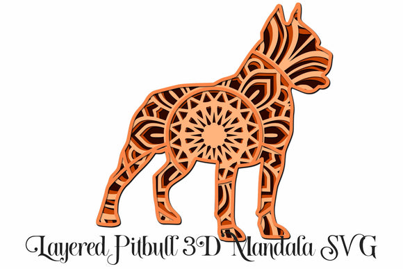 Pit Bull Layered Dog Mandala SVG - 4 Layers
