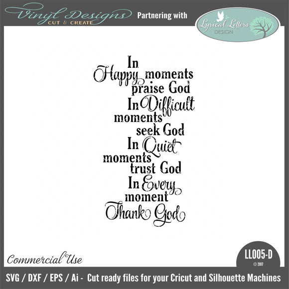 LL005D - In Happy Moments Praise God Poem