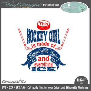LL024F - Sugar and Spice and Everything Ice Hockey Girl