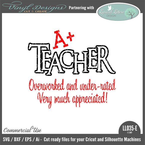 LL035E - A+ Teacher Overworked and Under-Rated Very Much Appreciated