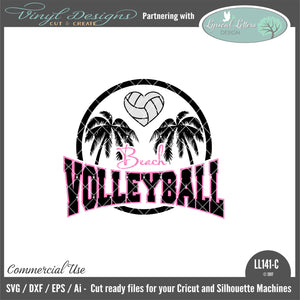 LL141C - Beach Volleyball with Palm Trees