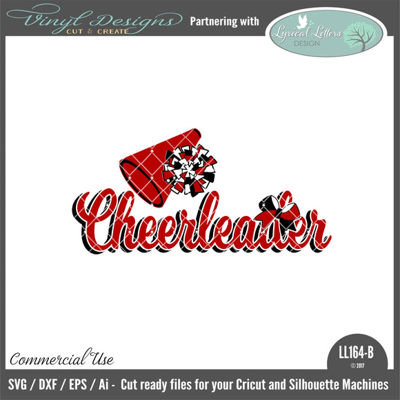 LL164B - Cheerleader with Megaphone Pom Pom and Bow