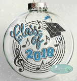 Class of 2018 Music Theme with Music Notes Treble Clef and Staff