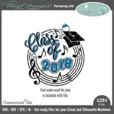 LL220C - Class of 2018 Music Theme with Music Notes Treble Clef and Staff