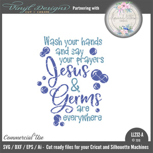 Wash Your Hands and Say Your Prayers Jesus and Germs Are Everywhere Cut File
