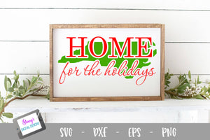 North Carolina - Home for the Holidays SVG - Christmas SVG