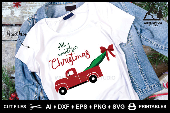 Vintage Truck with Kayak & Christmas Bow AI DXF EPS PNG SVG Printable