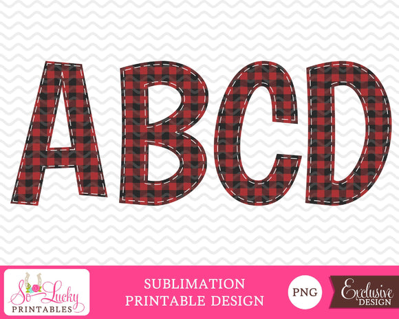 Buffalo Plaid Red check letters watercolor printable sublimation design - Digital download - PNG - Printable graphic design