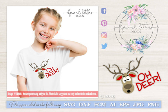 Oh Deer Reindeer SVG Cut File