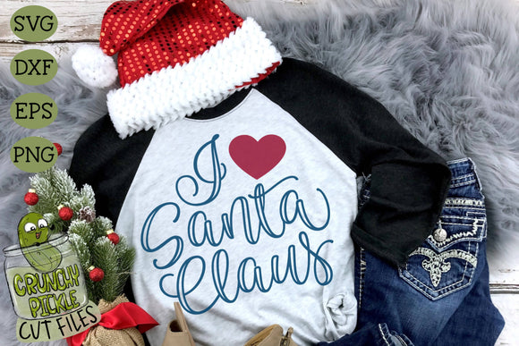 I Heart Santa Claus Christmas SVG Cut File
