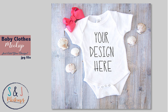 Baby Clothes Mockup, Body Suit with sea shells