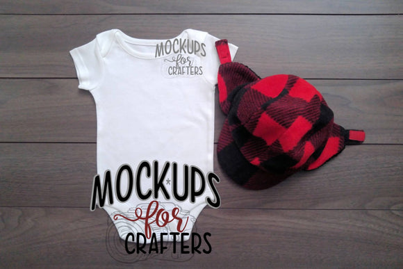 Baby bodysuit with buffalo plaid hat mock-up