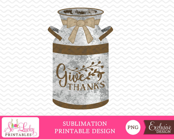Old milk can watercolor printable sublimation design - Digital download - PNG - Printable graphic design