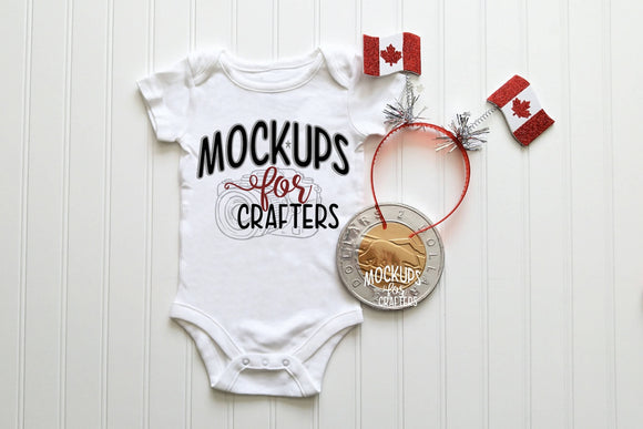 Baby bodysuit mock-up Canadian themed