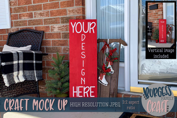 Red Christmas porch sign | Craft mock up