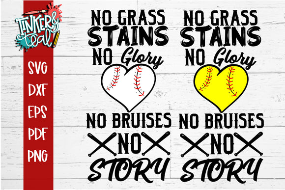 No Dirt No Glory Baseball Softball SVG
