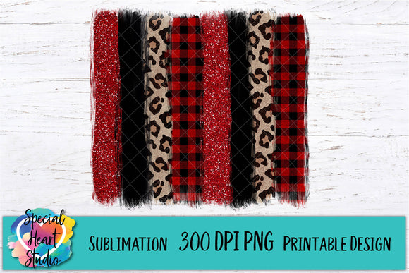 Red Buffalo Plaid Leopard Black Brush Strokes - PNG Printable