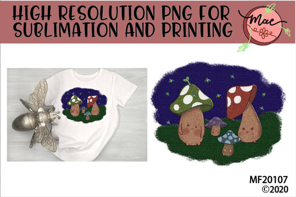 Group of Mushrooms Sublimation Design