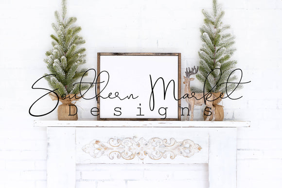 16X20 WHITE CHRISTMAS ENTRY DIGITAL MOCK UP STOCK PHOTOGRAPHY